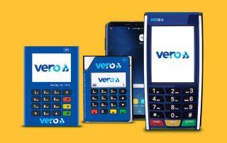 Ilustração das máquinas Vero Up Bluetooth, Vero UP 3G Wi-Fi and Vero Max com fundo amarelo