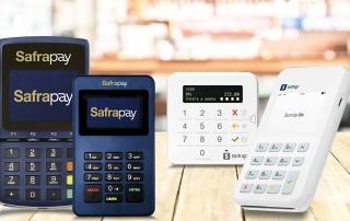 Máquinas SafraPay e SumUp sobre mesa