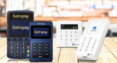 Imagem ilustrativa das máquinas de cartão SafraPay e SumUp