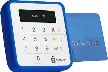 SumUp Top com cartão e capa protetora