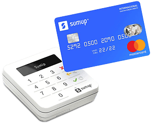 Foto ilustrativa da SumUp Top e cartão SumUp Mastercard