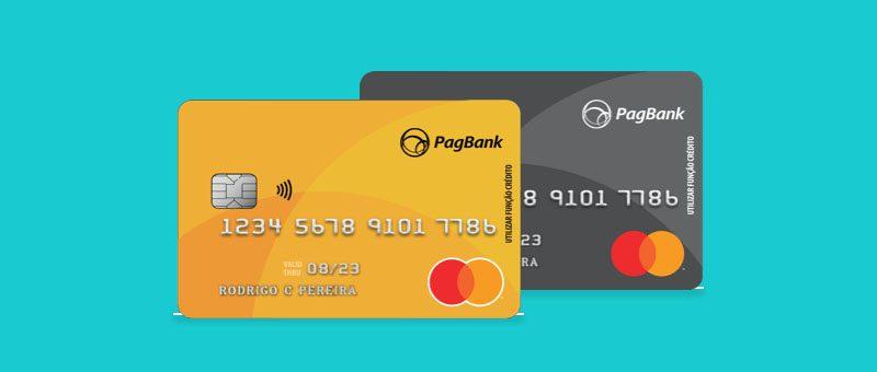 Cartoes da conta PagBank em fundo verde