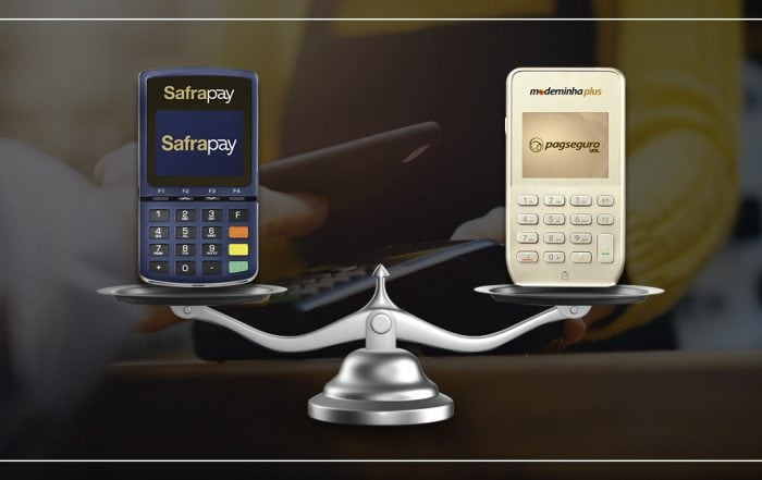 Maquininhas de Cartão SafraPay sem Bobina e Moderninha Plus sobre balança sobre um fundo mostrando pagamento por aproximação