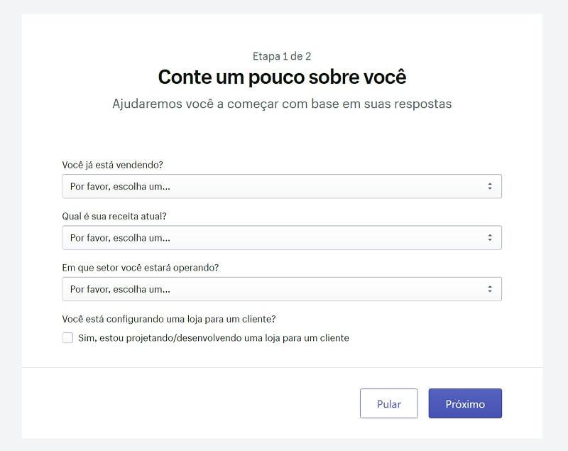 Perguntas do cdastro da loja virtual Shopify
