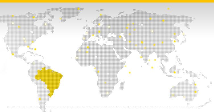 Mapa dos locais onde Western Union está presente