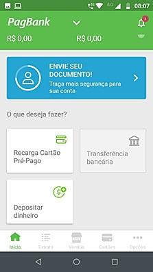 Ilustração da tela de diferentes serviços do app PagBank
