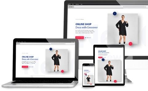 Ilustração da loja virtual cielo em uma tela de desktop, laptop, tablet e celular