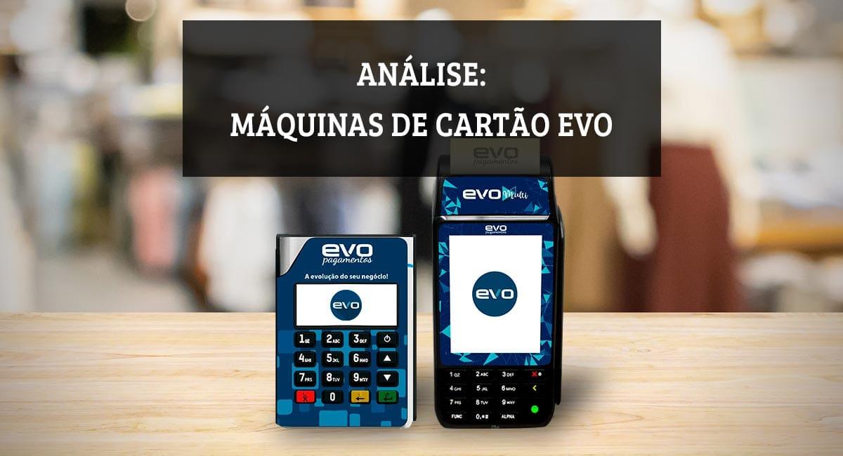Ilustração das máquinas de cartão Evo Móvel e Multi em cima de uma mesa