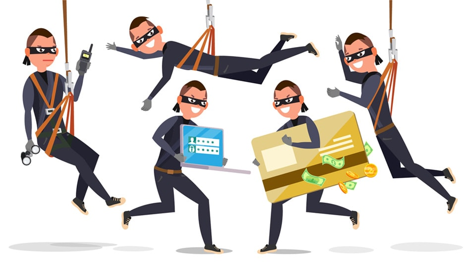 Desenho de vários homens cometendo diferentes tipos de fraudes