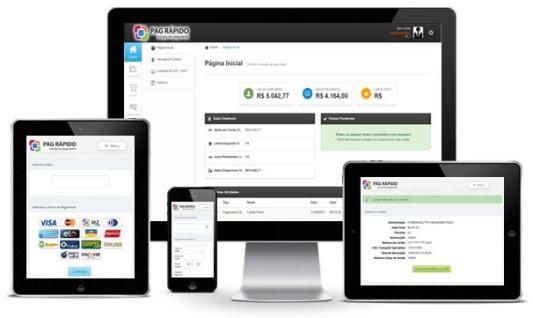 Celular, tablets e monitor mostrando app Pag Rápido