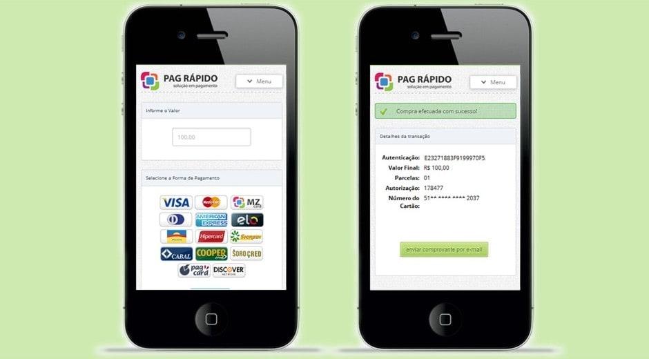 Ilustração mostrando dois celulares telas de pagamento no app Pag Rápido