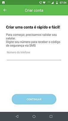 Ilustração da tela do app PagBank para criar uma conta