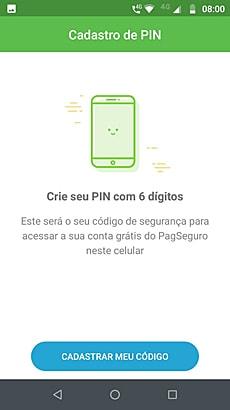 Ilustração da tela de cadastro do PIN do app PagBank