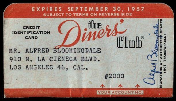 Ilustração do cartão de crédito Diners Club de 1957