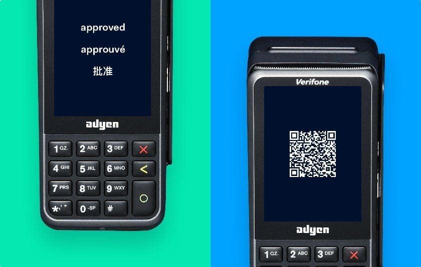 Duas ilustrações da máquina de cartão Adyen Móvel V240M com fundo verde a azul