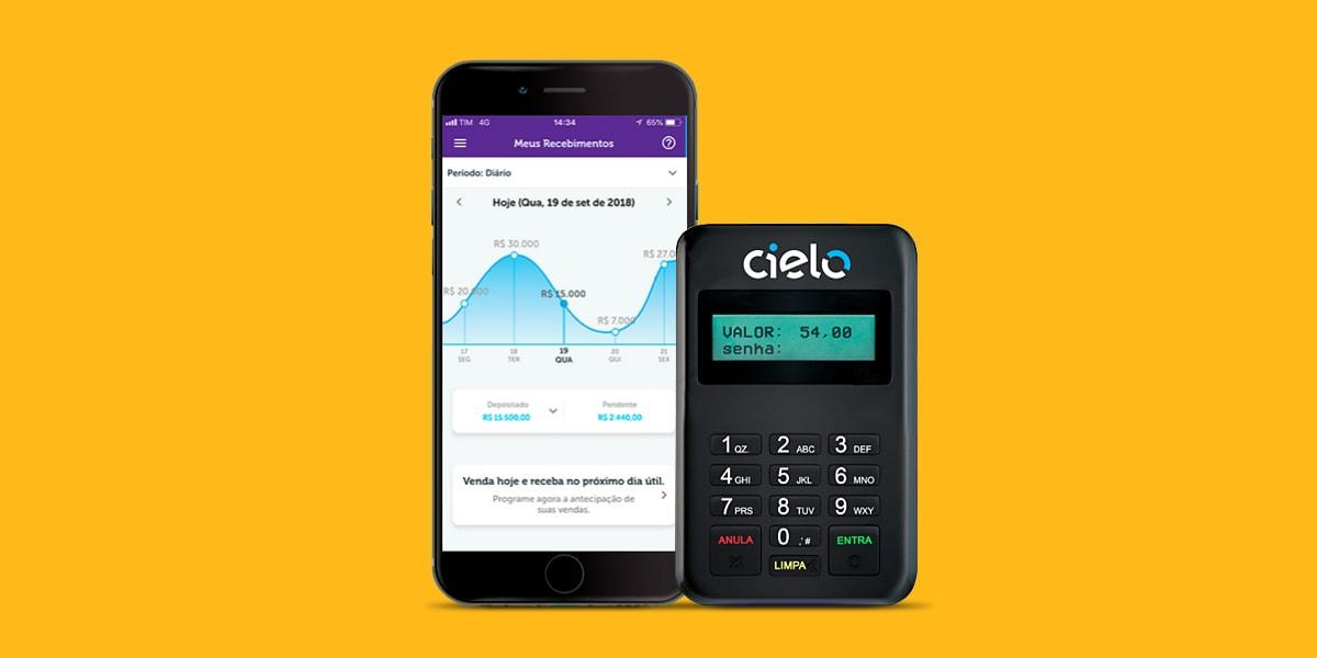 Ilustração com fundo amarelo da maquininha Cielo Mobile ao lado de um celular mostrando o app na tela