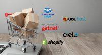 Carrinho de compras com caixas e logomarcas da Cielo, Mercado Pago, Shopify, Virtuol, Getnet, Cielo