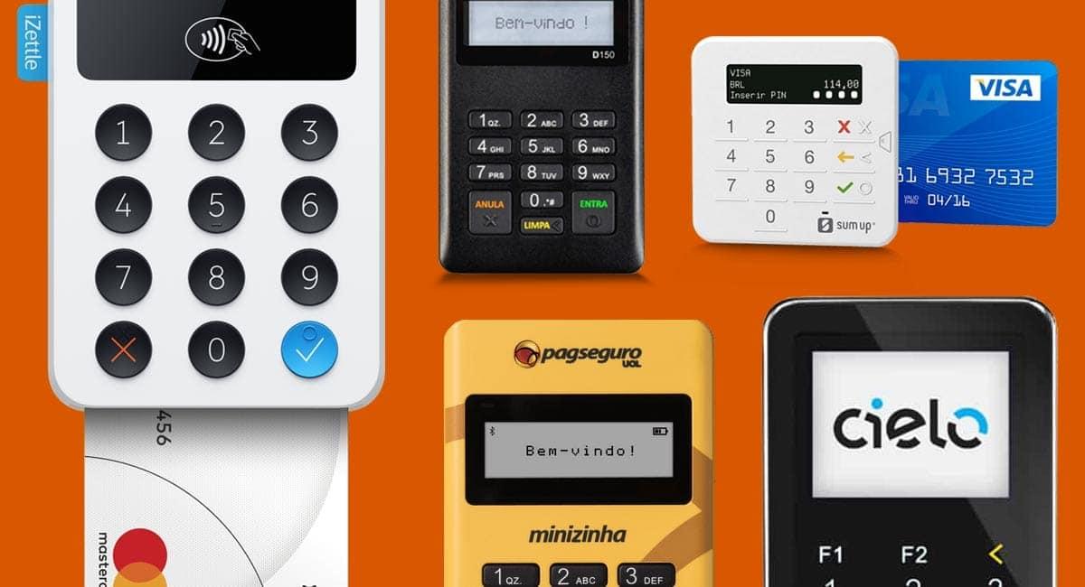 As melhores maquininha de cartão para celular Minizinha, Cielo Mobile, iZettle, SumUp Top e Point MIni em fundo marrom