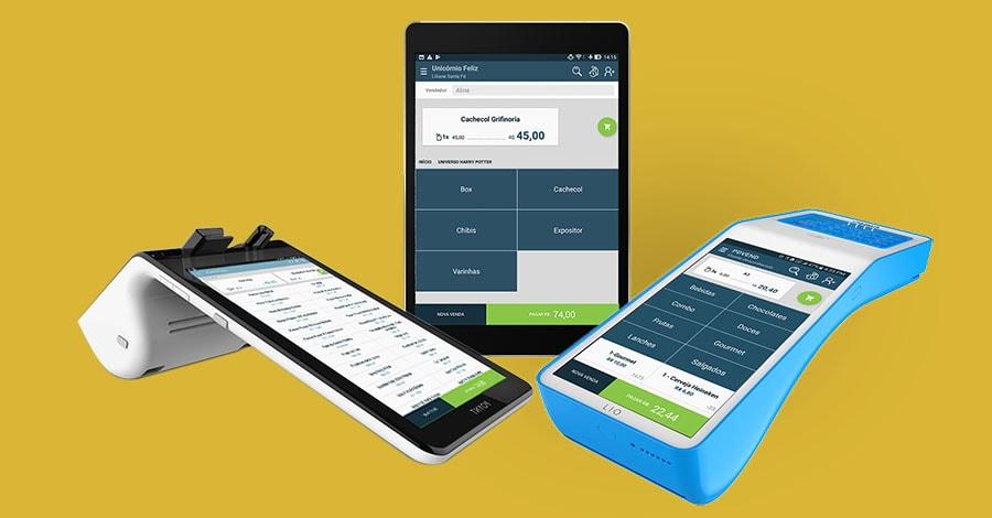 Ilustração de fundo amarelo com máquina de cartão e tablet usando o app PDVend