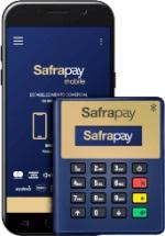 Ilustração da maquininha SafraPay Sem Bobina Bluetooth ao lado de um celular