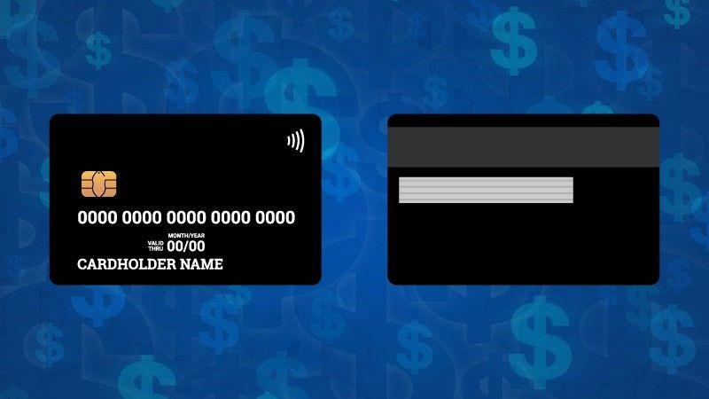 Frente e verso de um cartão com tecnologia chip, tarja magnética e contactless em fundo azul