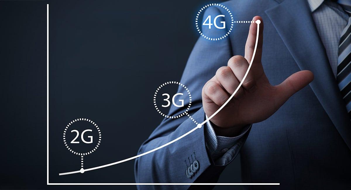 Ilustração de um homem de terno mostrando um gráfico coma evolução das conexões POS