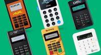 Mobile Rede, iZettle Maquinão, Cielo Mobile, Point Mini, Minizinha e SumUp Top em fundo verde