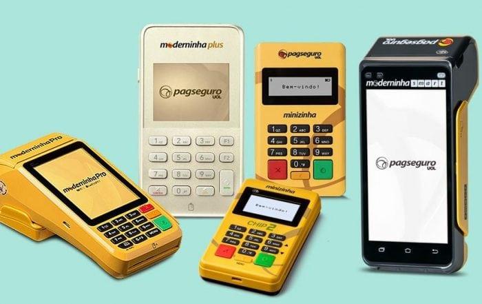 Pro, Plus, Smart, Minizinha e Minizinha Chip 2 do PagSeguro em fundo azul