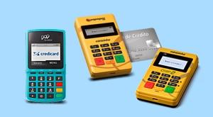 Pop Credicard, Minizinha e Minizinha Chip 2 em fundo azul