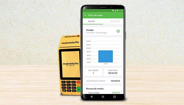Moderninha Pro ao lado de um smartphone exibindo uma tela do app PagVendas