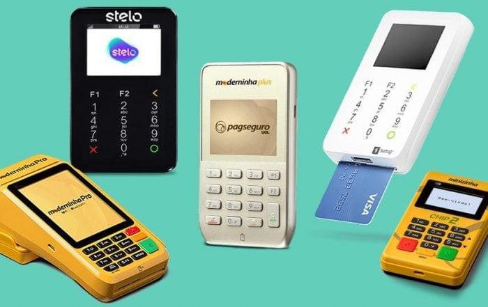 Maquininhas de cartão Moderninha Pro, Plus, SumUp Super, Minizinha Chip 2 e Stelo