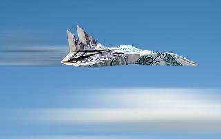 Ilustração de um avião voando feito com uma nota de dólar