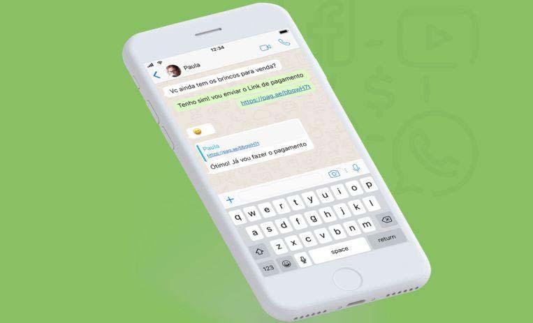 Ilustração com fundo verde de um celular mostrando link de pagamento do PagSeguro por WhatsApp