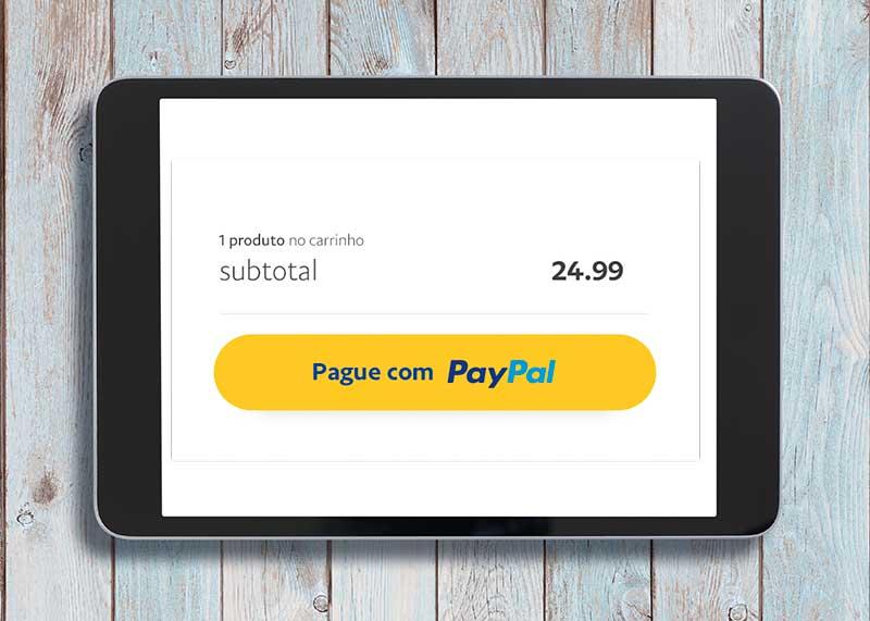Tela mostrando botão de pagamento PayPal