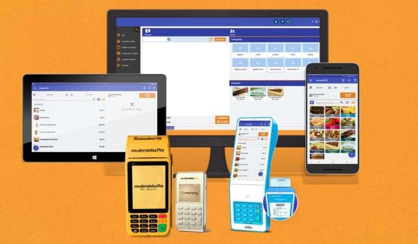 SmartPos, Moderninha Pro, Modernina Plus e Cielo Lio em fundo amarelo
