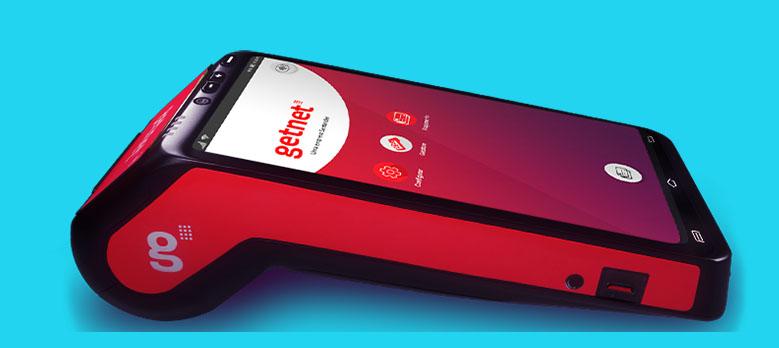 Visão lateral da máquina de cartão Getnet POS Digital