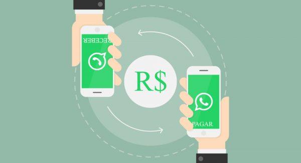 Ilustraçãod e fundo azul exibindo telas de dois celulares recebendo e enviando pagamento via WhatsApp, com o símbolo do Real no meio