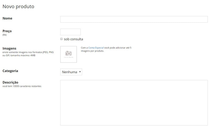 Tela de registro de produto da Loja 2