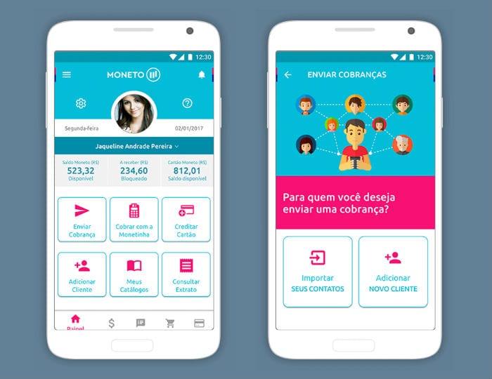 Ilustração de fundo azul mostrando tela inicial do app Moneto e tela de envio de pagamento