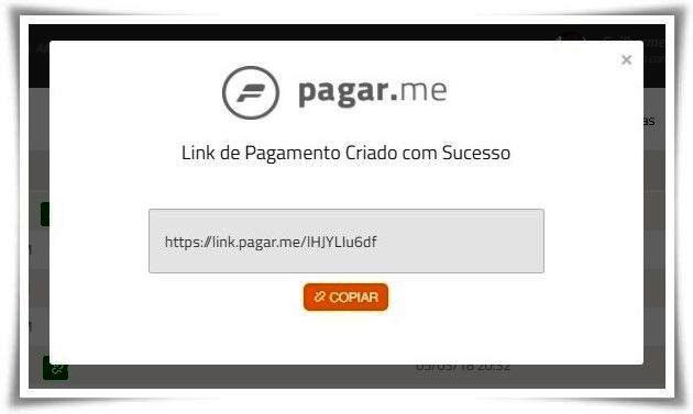 Tela mostrando link de pagamento criado no Pagar.me