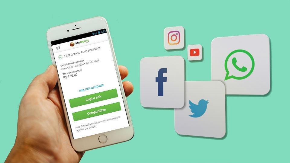 Ilustração mostrando uma mão segurando um smartphone com a tela mostrando criação de link do PagSeguro para pagamento, ao lado do símbolo de diferentes redes sociais