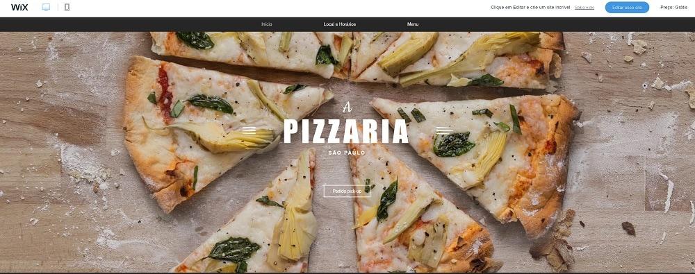 Loja virtual Wix de uma pizzaria