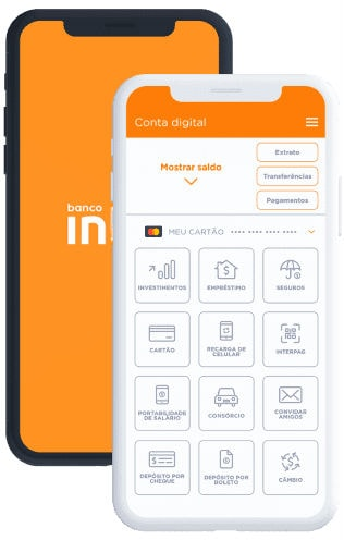 Tela de smartphone mostrando as funcionalidades no app do Banco Inter