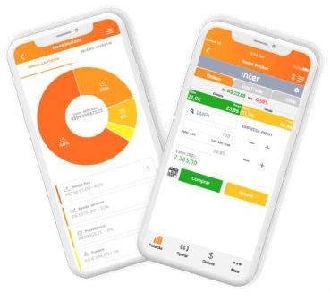 Dois smartphones mostrando diferentes fucnionalidades do app do Banco Inter