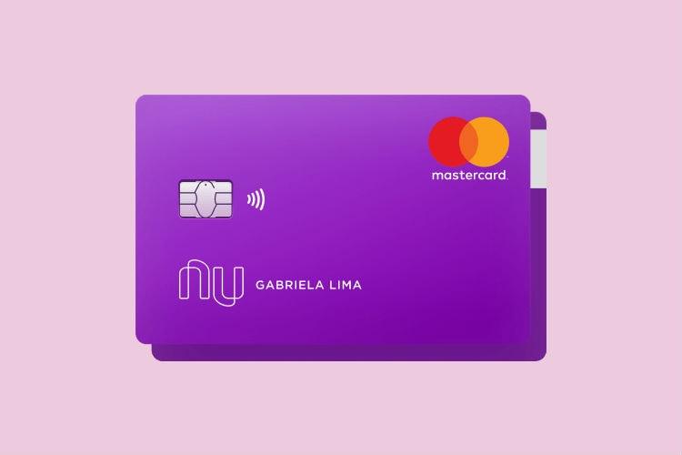 Ilustração com fundo roxo do cartão Nubank