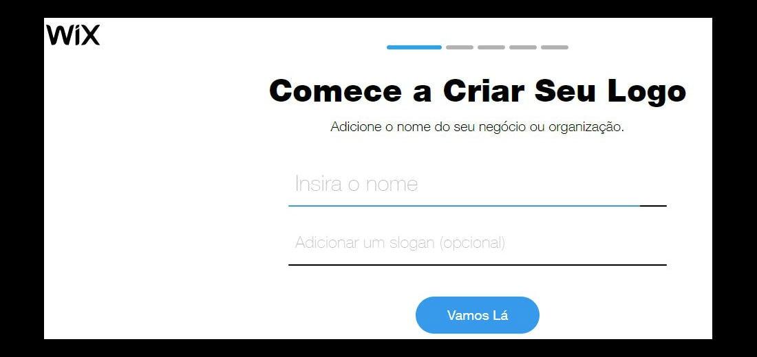 Página da Wix de criação de logo