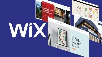 Logo Wix em fundo azul com telas de diferentes templates