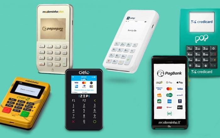 As melhores maquininhas de cartão com chip Minizinha Chip 2, Moderninha Plus e X, Cielo Zip, SumUp On e Pop Credicard em fundo azul