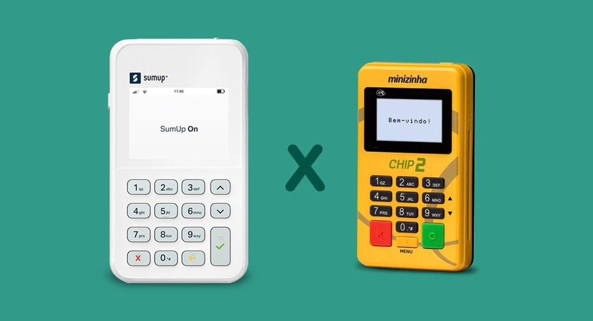 SumUp On e Minizinha Chip 2 em fundo verde
