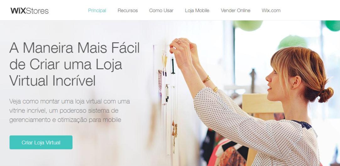 Ilustração a página Wix contendo o botão de criar loja virtual